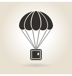 Parachute with the parcel icon vector