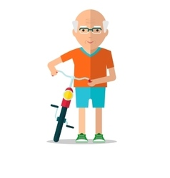 Elderly man walk with bicycle vector