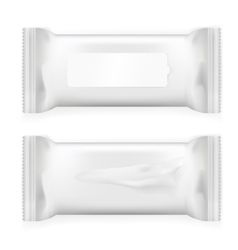 White wet wipes package with flap isolated on vector