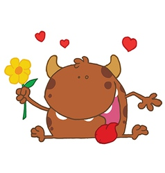 Happy brown monster holding a yellow flower vector
