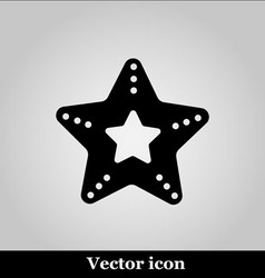 Single starfish icon on grey background vector