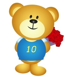 Bear boy cartoon hide a bouquet of flower vector image vector image
