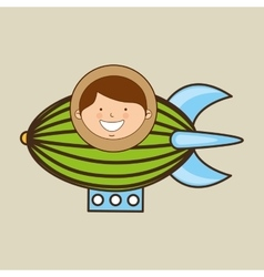 Boy lovely smiling airship graphic vector
