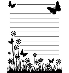 Butterfly and flower notepad vector image vector image