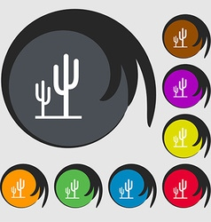Cactus icon sign symbols on eight colored buttons vector