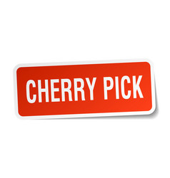 Cherry pick square sticker on white vector