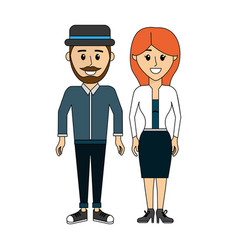 Couple man with hat and his wife vector