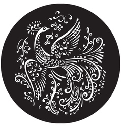 decorative bird in circle vector image vector image
