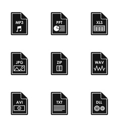 Documents icons set simple style vector