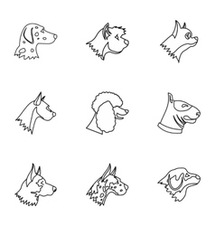 Dog icons set outline style vector image
