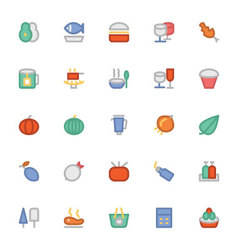 Food Colored Icons 5 vector image vector image