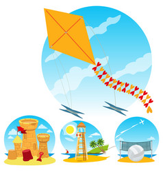 kite flying lifeguard tower beach volleyball sand vector image