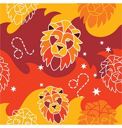 Leo - Zodiac seamless pattern vector image vector image
