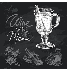 Mulled wine hand drawn chalkboard design set vector image
