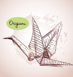 Origami paper cranes sketch line on beige vector image vector image