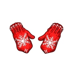 Pair of bright red winter knitted mittens with vector