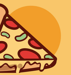 Pizza italian fast food cartoon close up vector