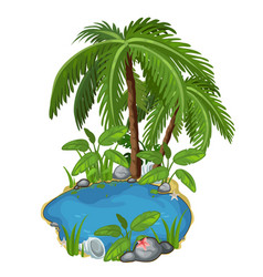 Pond with palm stones seashells and sand around vector