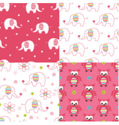 set of baby cute seamless patterns vector image