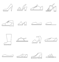 Shoes icons set thin line style vector image