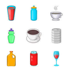Sip icons set cartoon style vector