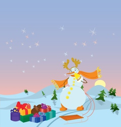 Snowman with sled banner vector image
