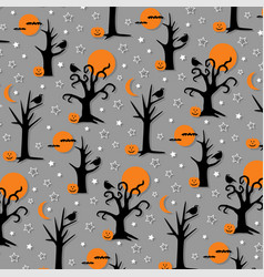 Spooky halloween trees and birds vector
