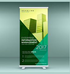 Standee design in trendy color style roll up vector