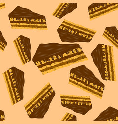 sweet chocolate cake seamless pattern vector image vector image