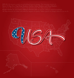 USA flag calligraphic lettering over map vector image vector image