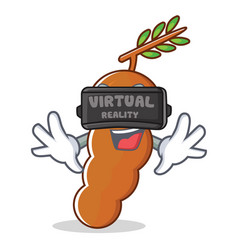 With virtual reality tamarind mascot cartoon style vector