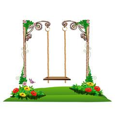 Wooden swing in the garden vector