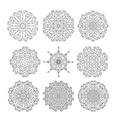 Geometric designs floral doodle elements vector