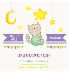 Baby cat sleeping on a star - baby shower card vector