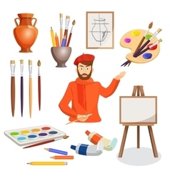 Man artist palette paint brushes stand vase vector