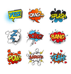 bang comic bubble speech and smash omg and pow vector image