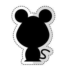 Cute mouse silhouette isolated icon vector