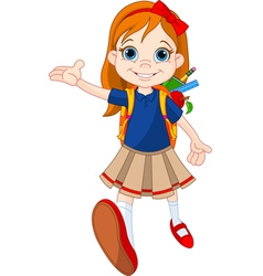 Girl go to school vector