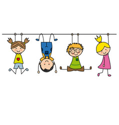 Group of children playing vector