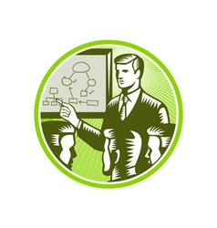 Businessman Presenting Boardroom Woodcut vector image