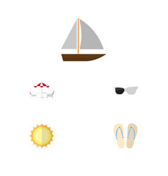 Flat icon summer set of sunshine recliner vector