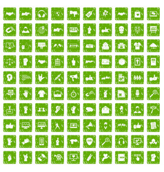 100 different gestures icons set grunge green vector