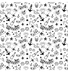 Old school tattoos pattern vector