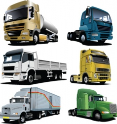six trucks vector image