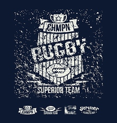 College team rugby retro emblem vector image