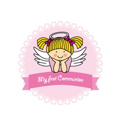 First communion card girl vector