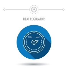 Heat regulator icon radiator thermometer sign vector