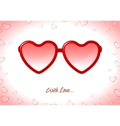 Red sunglasses with Valentine heart shapes vector image