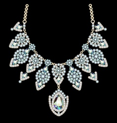 Beautiful female necklace with precious stones on vector