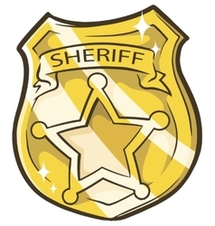 Cartoon golden sheriffs badge vector image